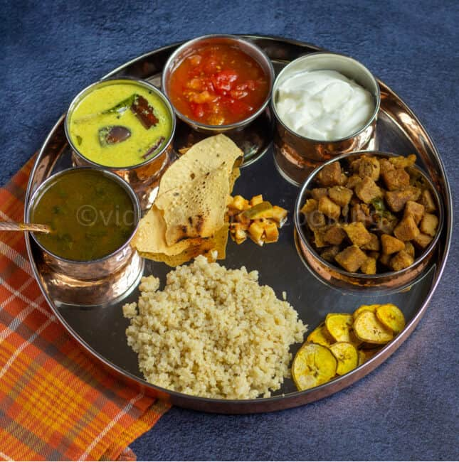 mor kuzhambu rasam senai curry thali