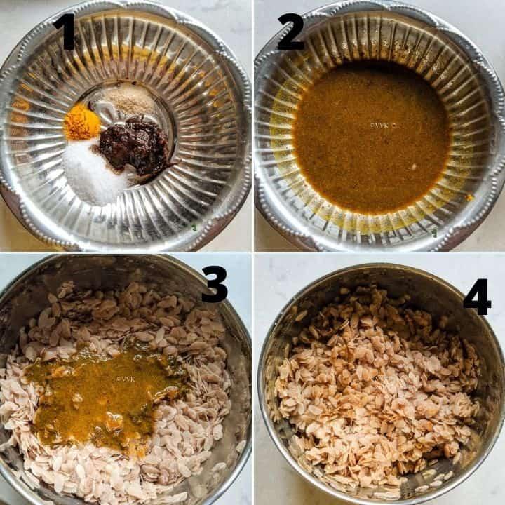 aval upma step set - mixng the tamarind paste