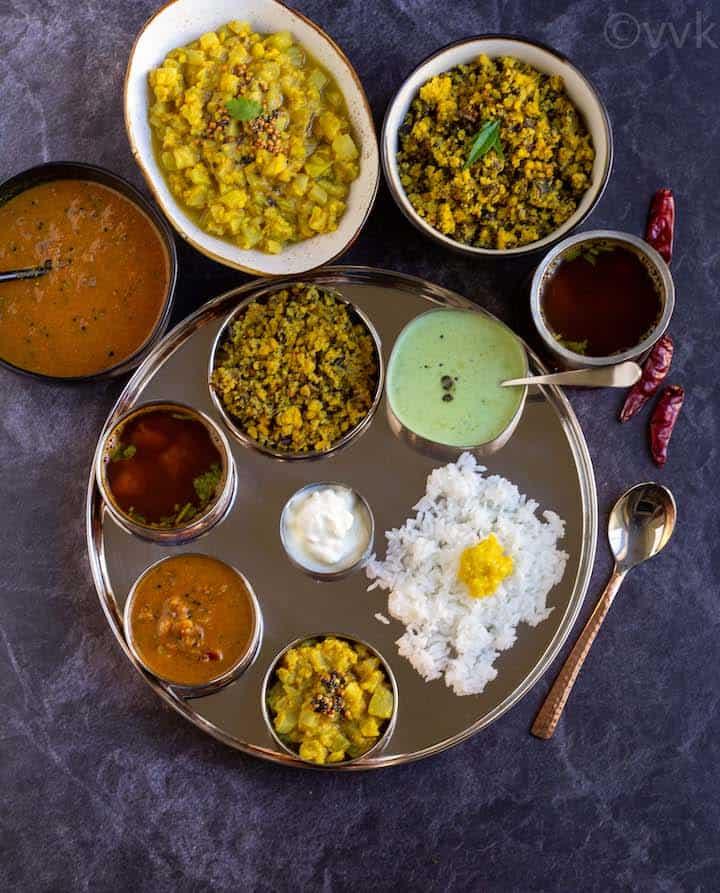 tamil bramin style lunch menu with kuzhambu, kootu, poriyal and rasam