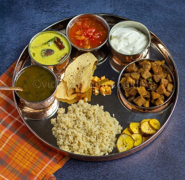 south indian saapadu menu with mor kuzhambu