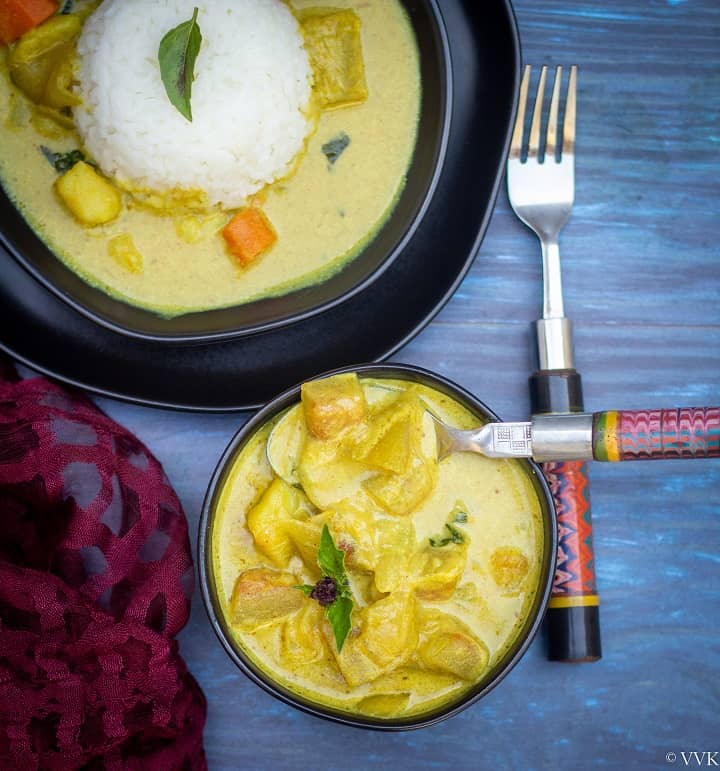 top angle shot of thai curry in a bowl and plate with rice