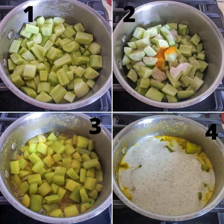 cooking the cucumber and adding the yogurt mix