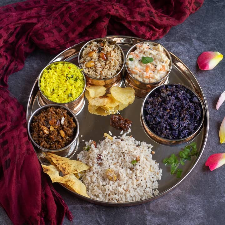 aadi 18 lunch recipes with lemon, tamarind, coconut, jaggery, yogurt rice with cabbage curry