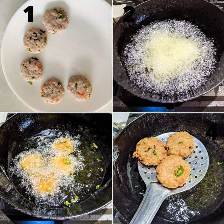 shaping and frying the vada