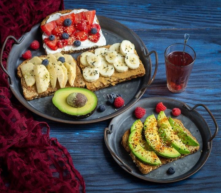 breakfast toast 3 sweet toast and 1 savory toast platter
