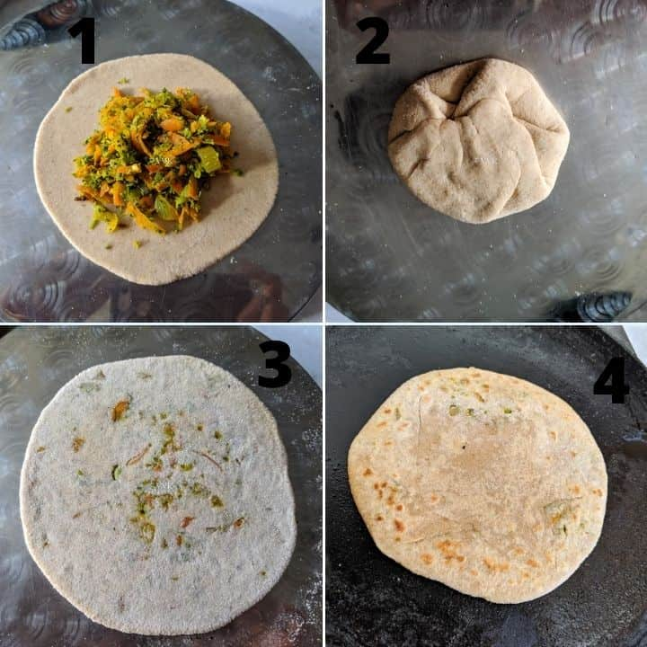 broccoli paratha filling and rolling