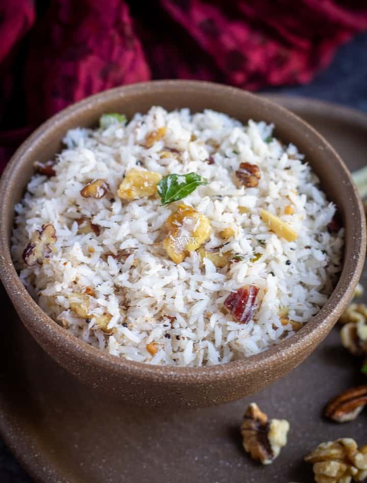 close up slanting shot of coconut rice served in a bowl
