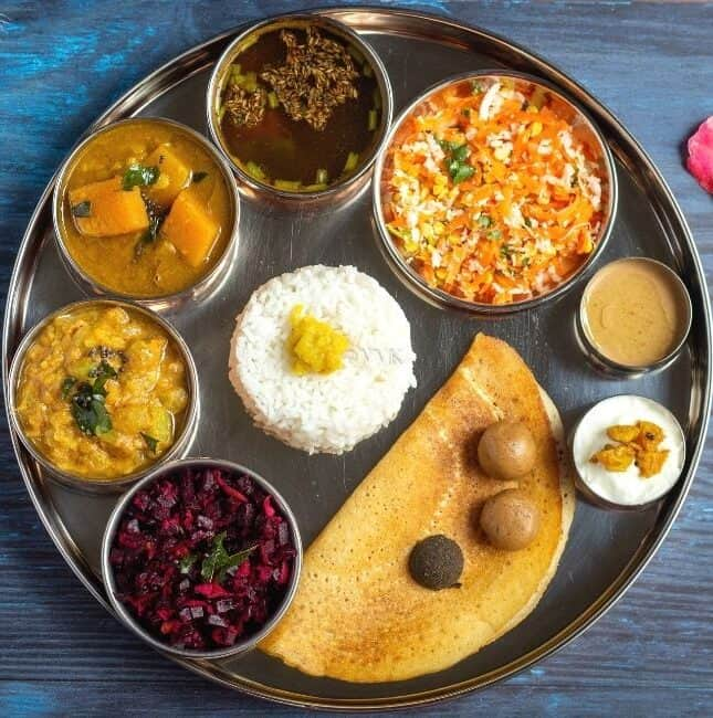 square image of indian festive thali or spread