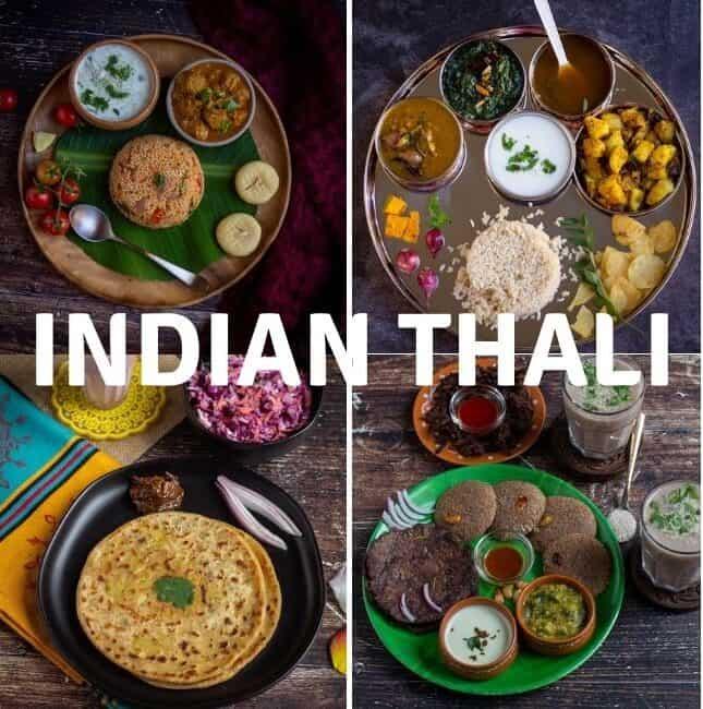 Indian thali collage