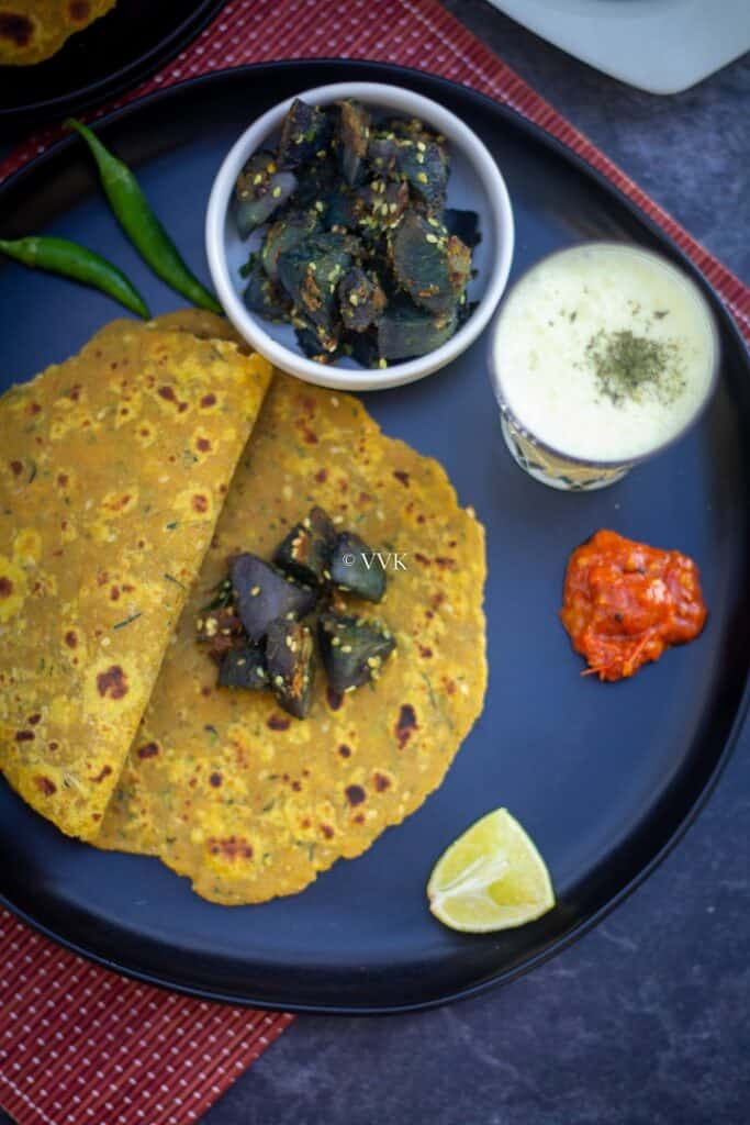 simple gujarati lunch menu with thepla, batata nu shaak, pickle and chaas