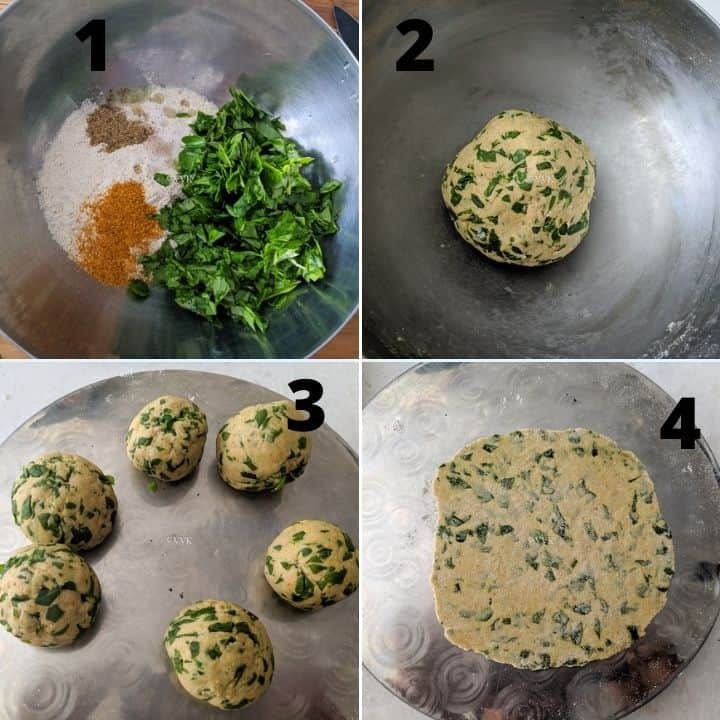 methi paratha dough preparation and rolling