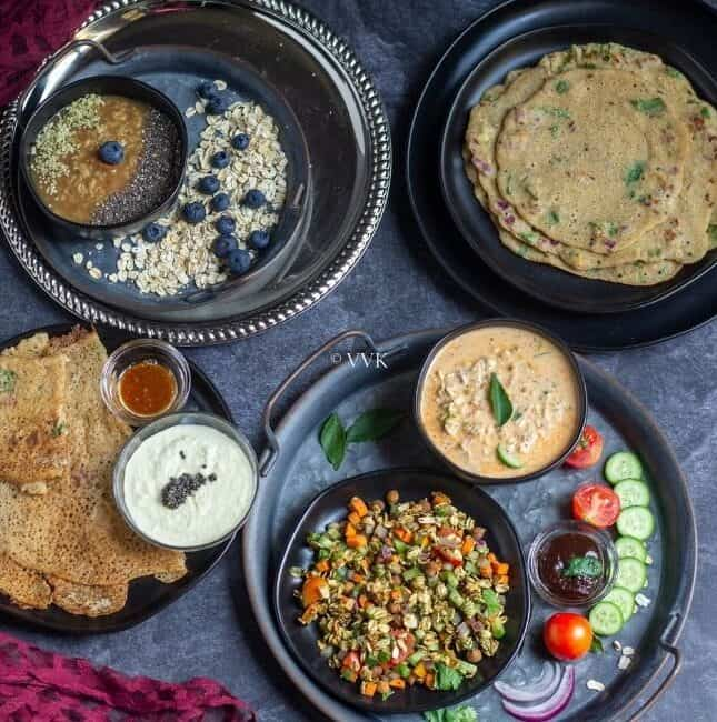 square image of oats platter with bhel, overnight oats, dosa and oatmeal