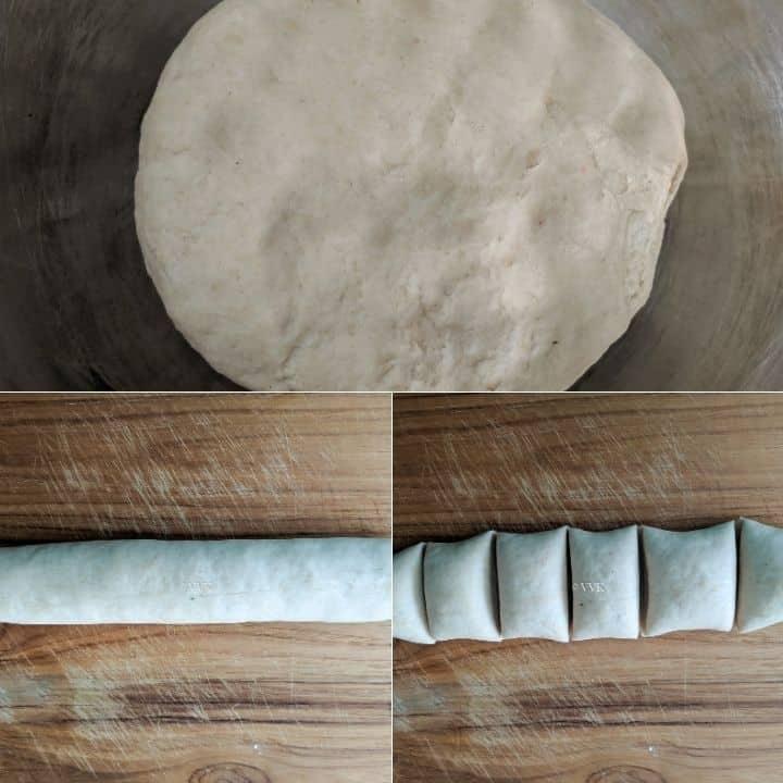 paneer paratha dough cut into small pieces