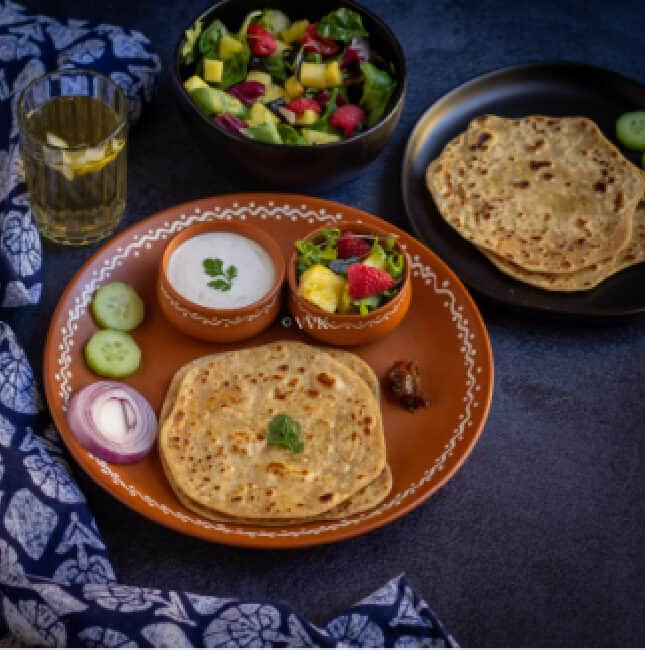 paneer paratha spread with