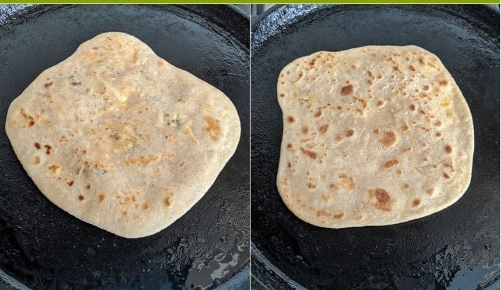 cooking the paneer paratha
