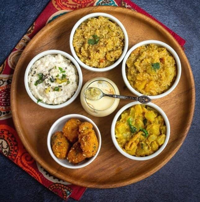 square image of quinoa platter with south indian variety rice