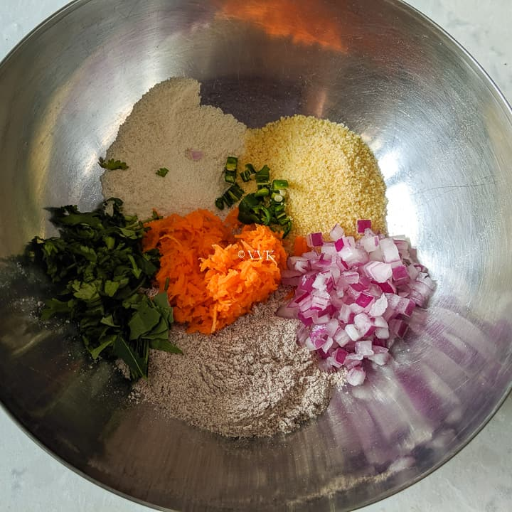fingermillet idli preparation - all the ingredients added in the bowl