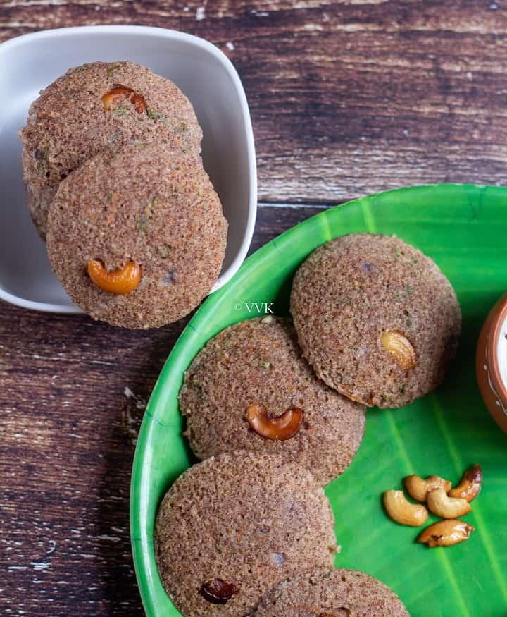 close up shot of stacked and layered ragi rava idli