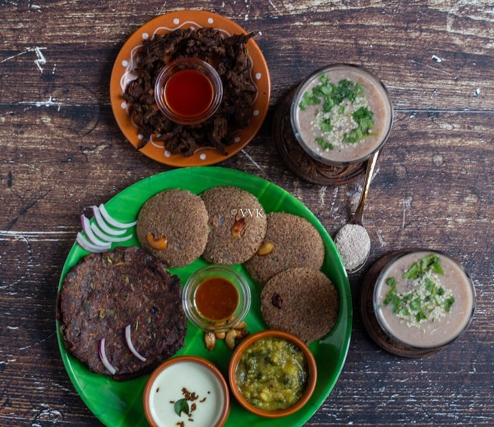 simple recipes with ragi flour served in green leaf plate