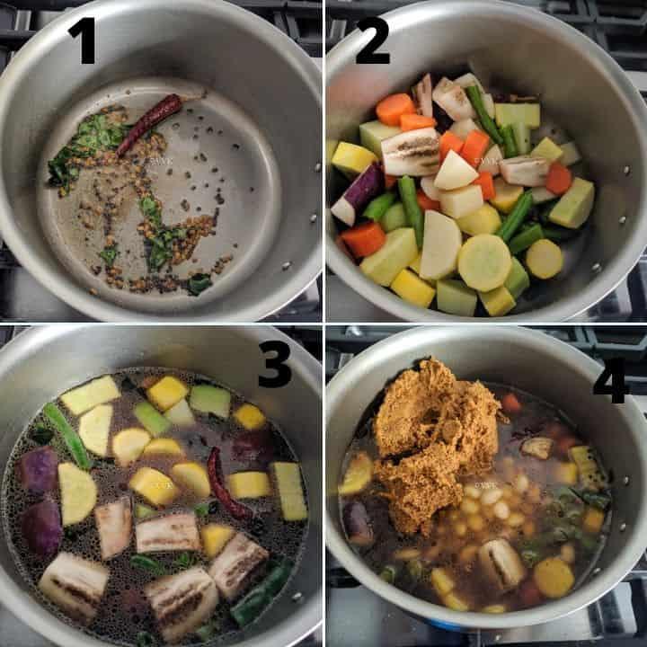 sambar preparation step set