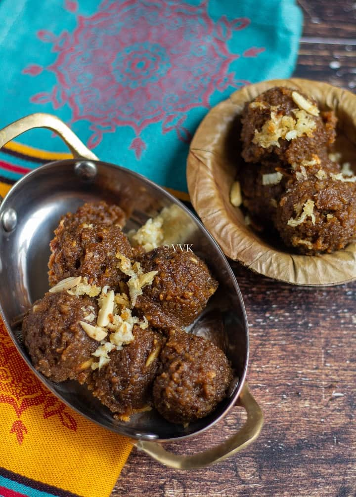 thiruvathirai kali with roasted coconut and nuts on top served in a traditional leaf bowl