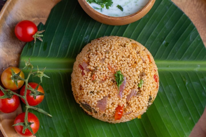 close up shot of tomato millet biryani recipe