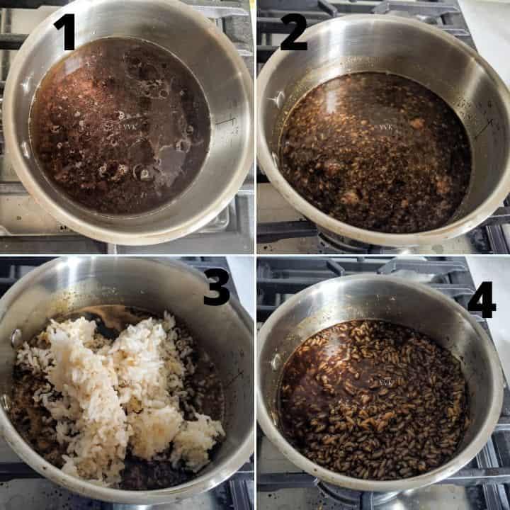jaggery syrup preparation and adding rice - vella sadam preparation collage