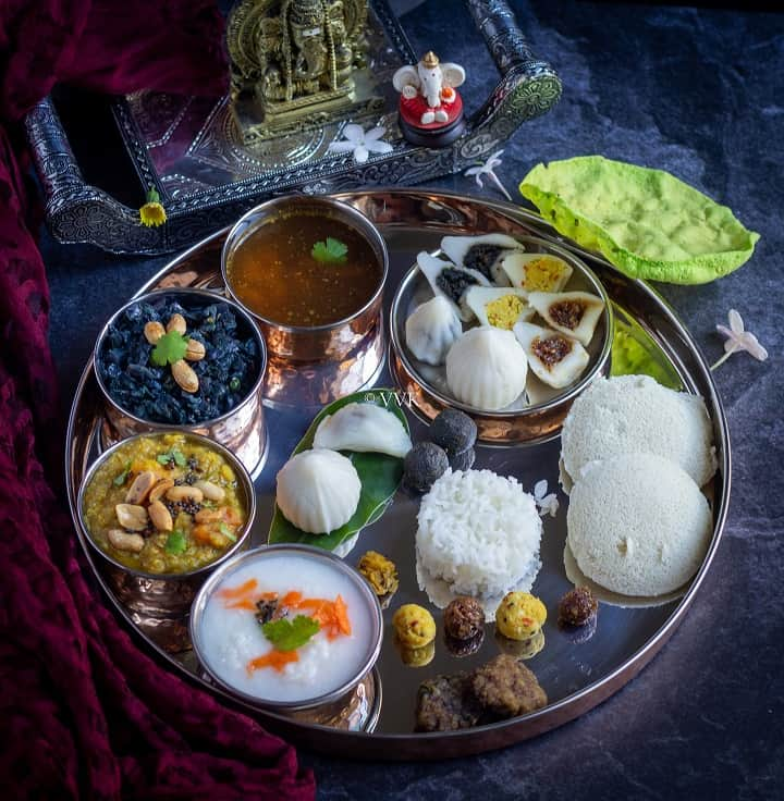 Festive special south indian lunch menu with assorted kozhukattai