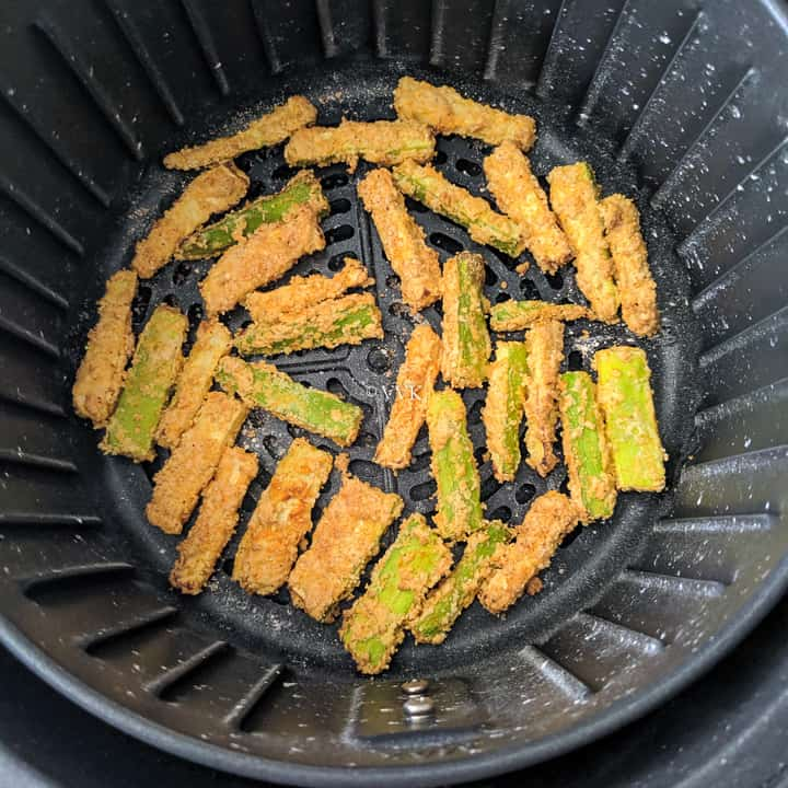 zucchini fries after 10 minutes of cooking