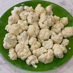 cauliflower coated with oil