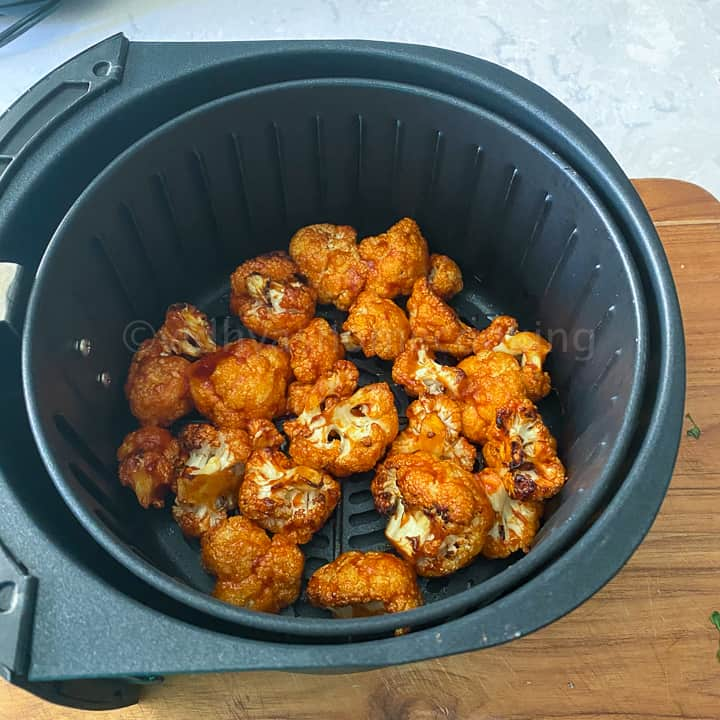 cauliflower bites after 8 minutes of cooking