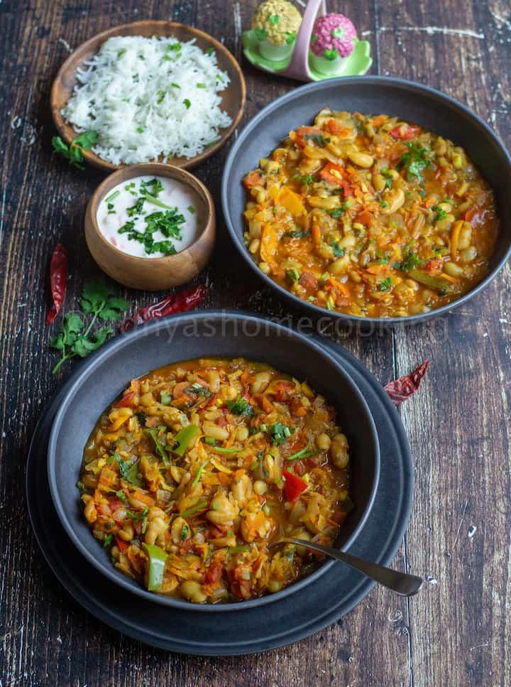 chakalaka served with rice and raita