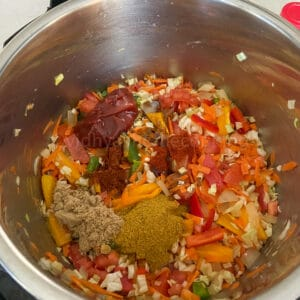 adding the spices and condiments