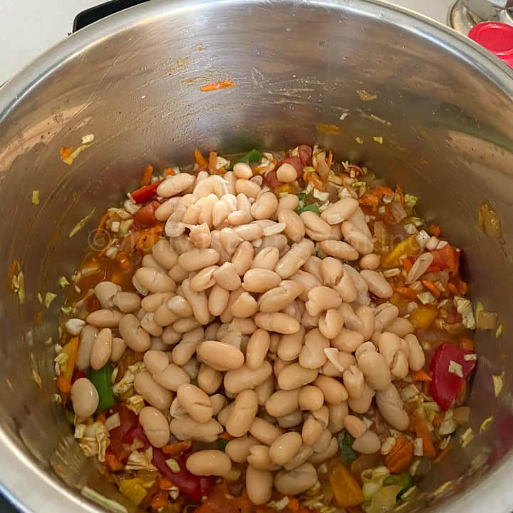 adding the beans