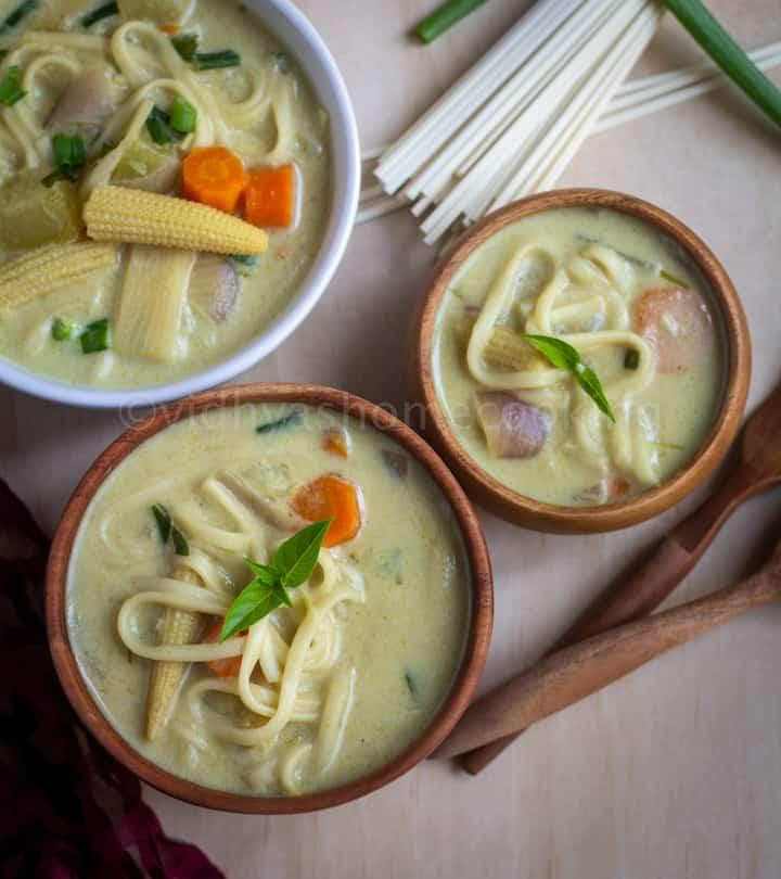 overhead shot of coconut curry noodle soup