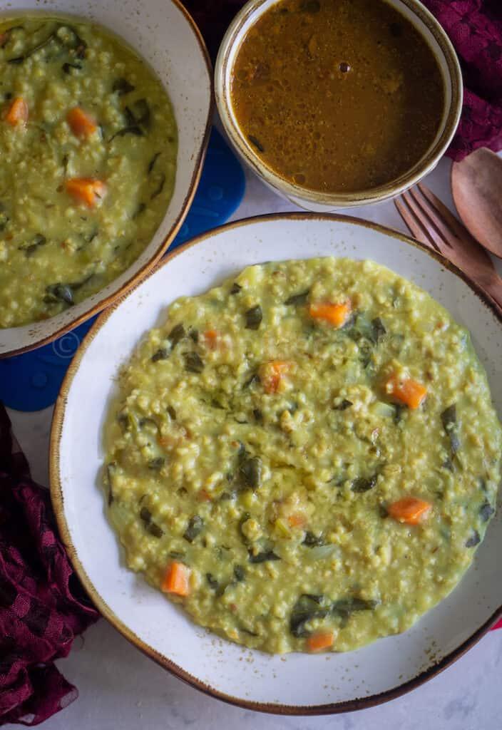 overhead shot of steel-cut oats khichdi