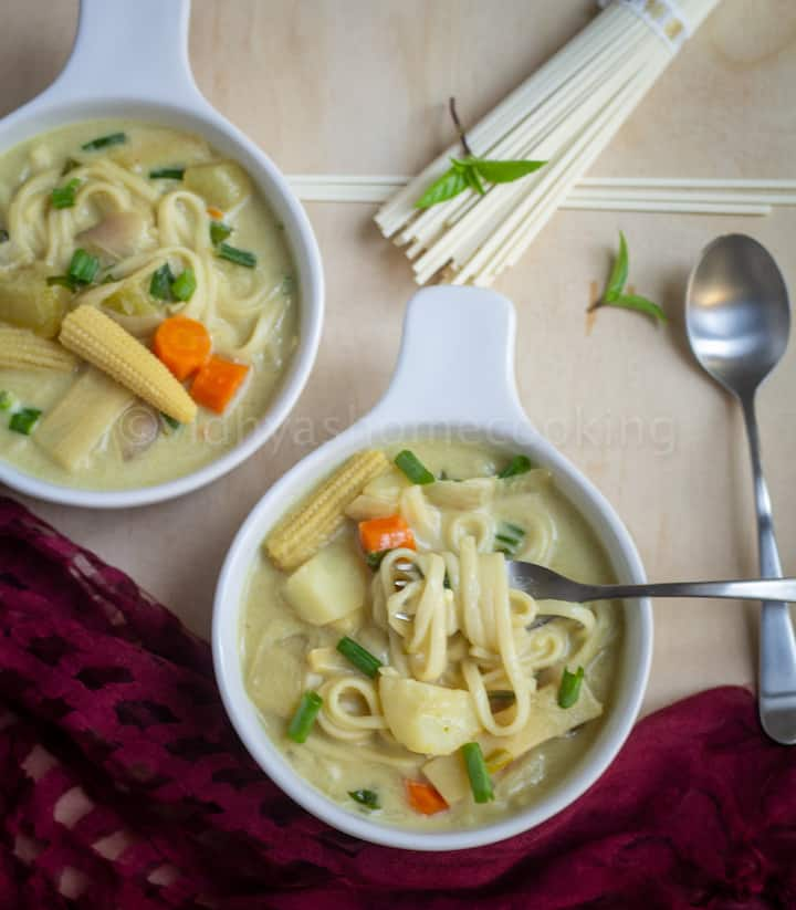 instant pot noodle soup served in two white bowls