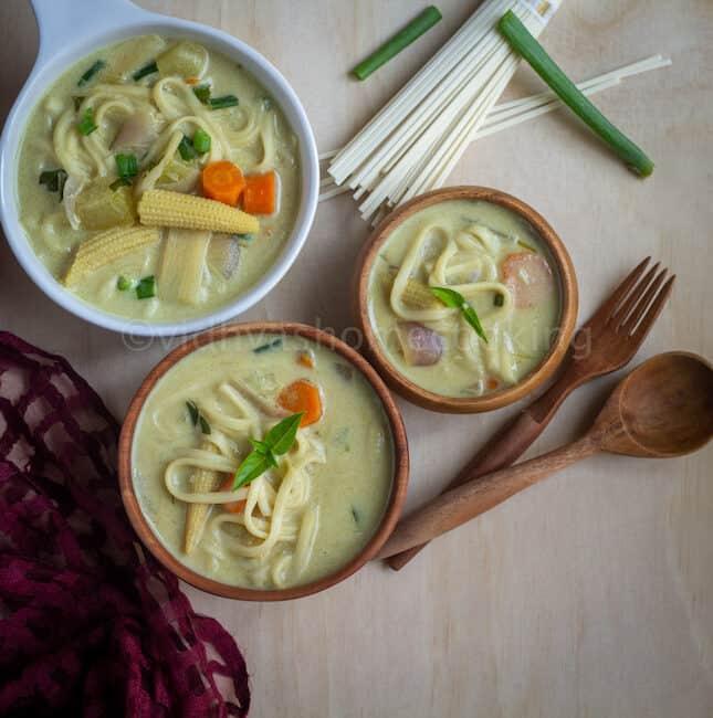 square image of thai coconut curry noodle soup
