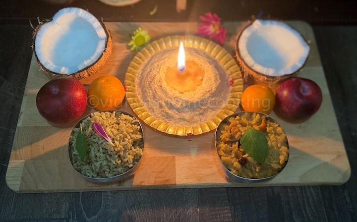 maa vilakku maavu with neivediyam and the light on