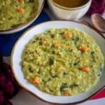 steel cut oats khichdi in a white bowl