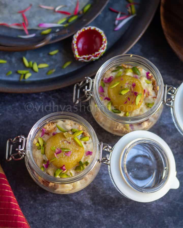 overhead shot of diwali dessert jars