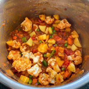 adding veggies and water