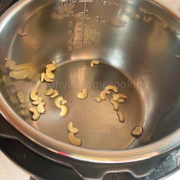 roasting the cashews