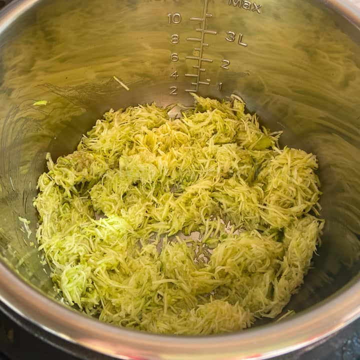 adding the grated zucchini