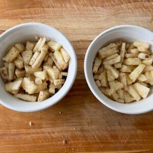adding the apple layer in the ramekins