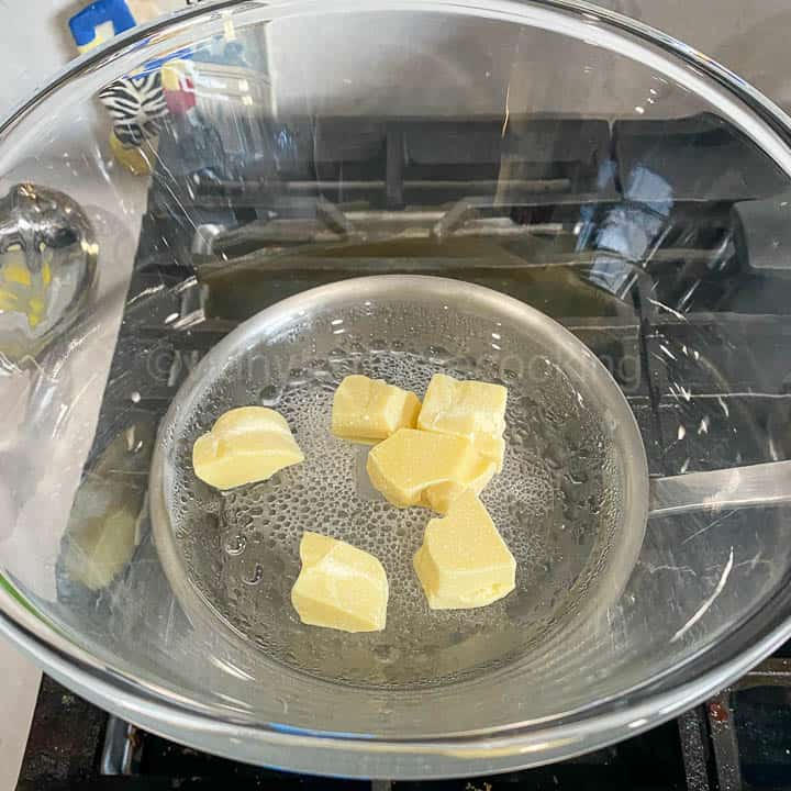 melting the cacao butter in the double boiler