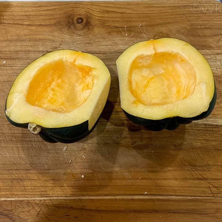 halved acorn squash