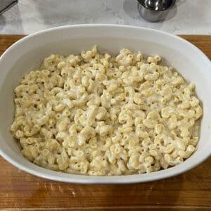 add the pasta to the casserole dish
