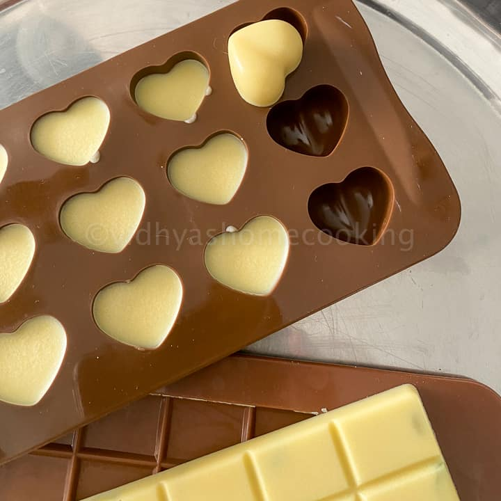 set white chocolate popped out of the molds