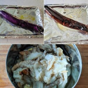 broiling brinjal, cooling and mashing